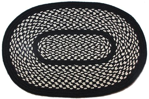 black and white braided rug 1778 black oval braided rug