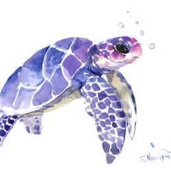 Sea turtle painting original watercolor painting 12 x 9 in blue