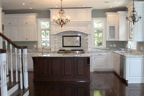 white and brown kitchen cabinets white kitchen brown island dark floors paint the