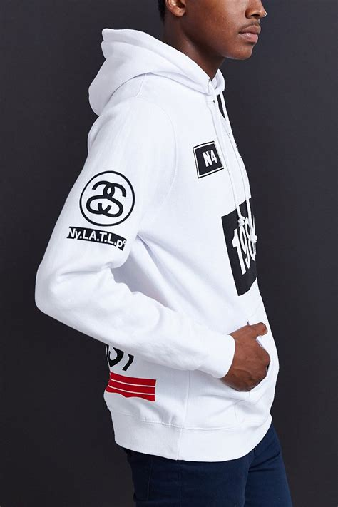 Hoodie Stussy Patta 1sweater stussy 1980 stripe pullover hooded sweatshirt in white for lyst
