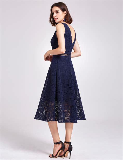 Dress Aliza Navy alisa pan lace casual dress midi sleeveless cocktail v