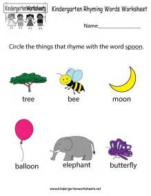 free printable kindergarten rhyming words worksheet
