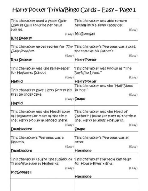 printable quiz harry potter entertaining harry potter party games printables and