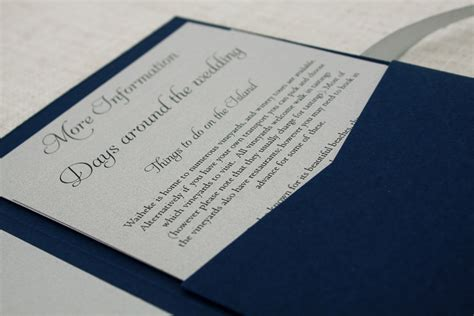 navy blue silver pocketfold wedding invitation be my guest