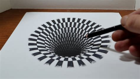 3d illusion l youtube pics for gt how to draw a 3d hole on paper