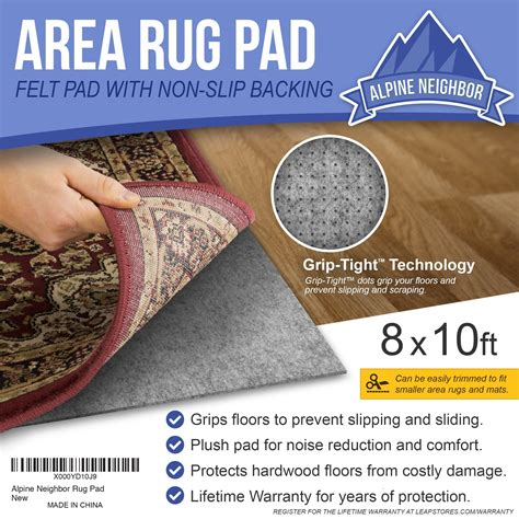 10 Foot Rug Pad - alpine 8 by 10 rug pad with grip tight