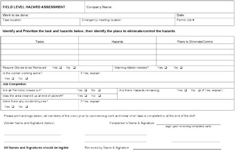 workplace hazard assessment template section 7 hazard assessment