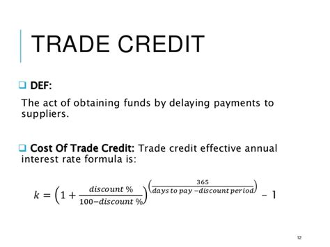 Credit Duration Formula Term Financing Policies