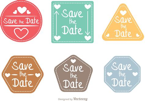 Save The Date Shapes Vector Pack   Download Free Vector