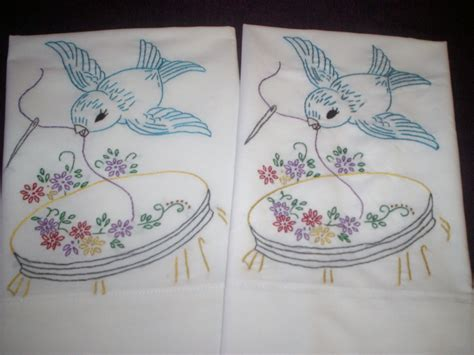 Embroidery Handmade Designs - embroidered handmade set of 2 pillowcases blue bird