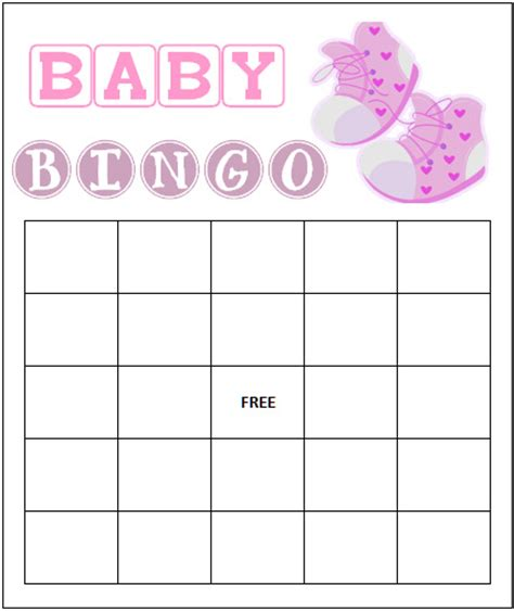 blank baby shower bingo cards template 8 best images of baby bingo template printable printable