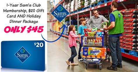 Sam Club Membership 20 Gift Card - groupon 1 year sam s club membership 20 gift card holiday dinner package only