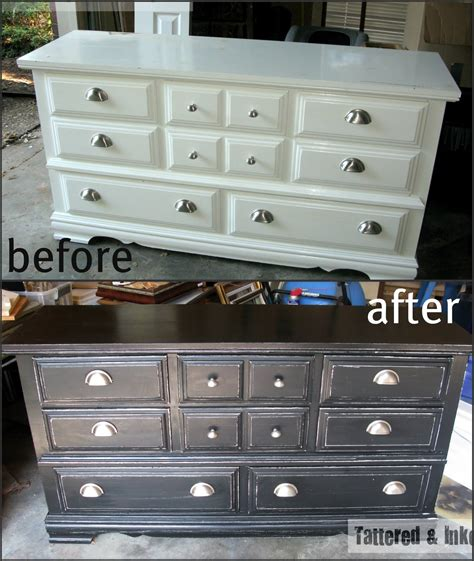 Distressed Bedroom Dressers Tattered And Inked Black White Distressed Dresser