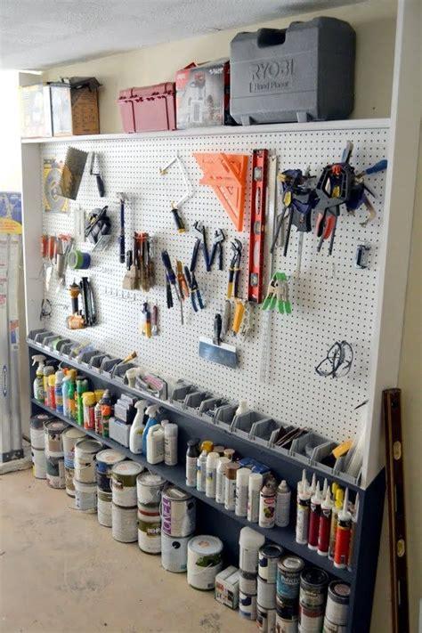 Narrow Garage Storage Ideas Garage Pegboard Wall Narrow Shelves Ceiling And Shelves