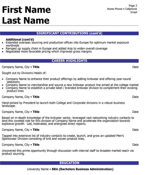 sample resume executive manager head global sourcing resume sample amp template