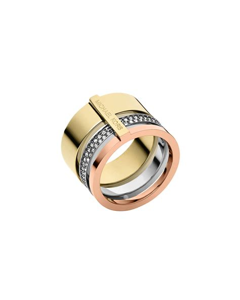 Michael Kors Ring by Michael Kors Tricolor Pave Barrel Ring In Multicolor Lyst