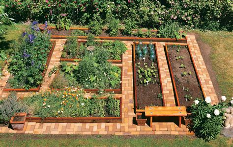 Raised Bed Vegetable Garden Layout Build Brick Garden Pathways Vegetable Gardener