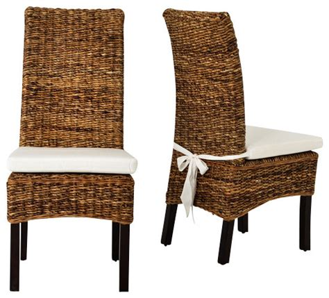 Four Hands Banana Leaf Chair With Cushion Brown Tropical Dining Chairs