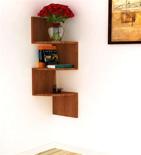 Buy Home Sparkle Brown Mango Wood Corner Shelf Online   Modern   Wall Shelves   Pepperfry
