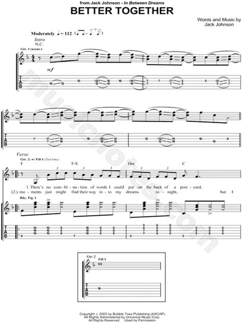 better together chords johnson quot better together quot guitar tab in f major