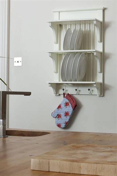 wooden painted plate rack wall unit shelves home and
