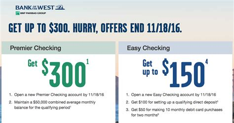 open a new bank account offers bank of the west 300 new checking account bonuses