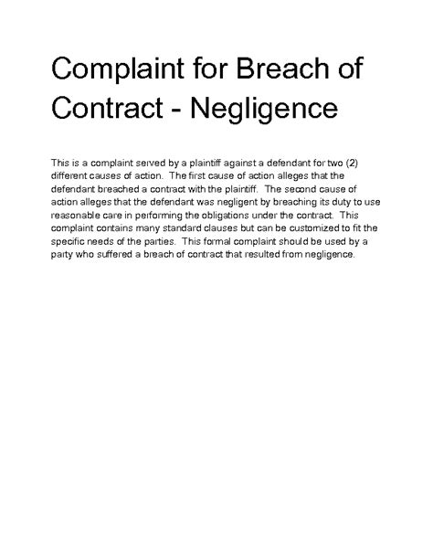 Complaint Letter Breach Of Contract Welcome To Docs 4 Sale
