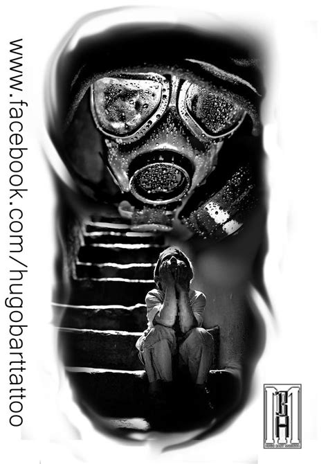 digital tattoo design mask gasmask scarry boy stairs creepy digital