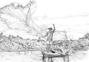 Fishing Fisherman Drawing Sketch Templates sketch template