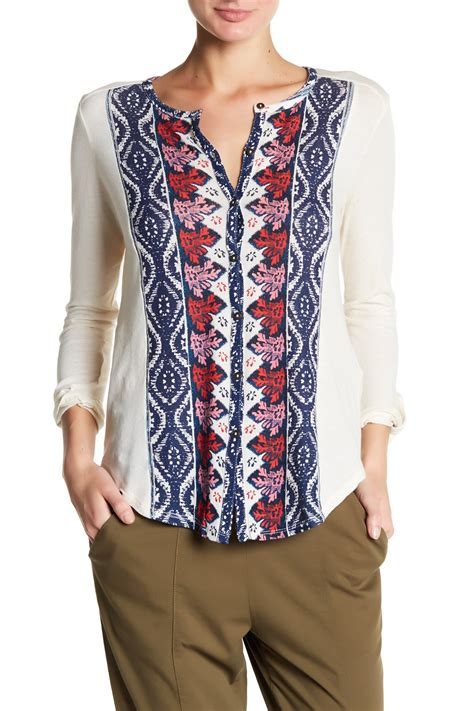 Branded Cato Print Blouse lucky brand placed print blouse nordstrom rack
