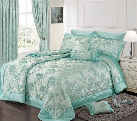 Blue Quilted Bedspread Duck Egg Blue Colour Stylish Floral Jacquard Luxury