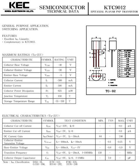 transistor pnp pdf c9012 datasheet pnp transistor ktc9012 kec