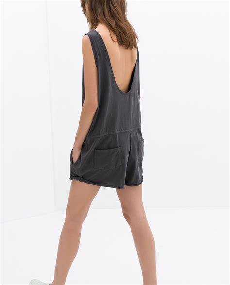 Zara Soft Grey zara soft jumpsuit in gray charcoal grey lyst