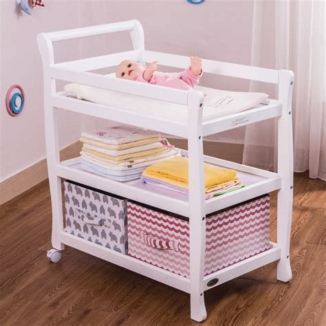 Solid Wood Baby Diaper Changing Table Toys Storage Shelf Changing Table Toys