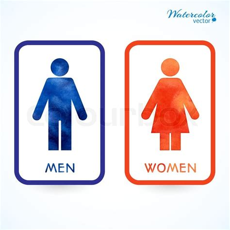 male female bathroom symbols watercolor signs toilet changing room male female wc
