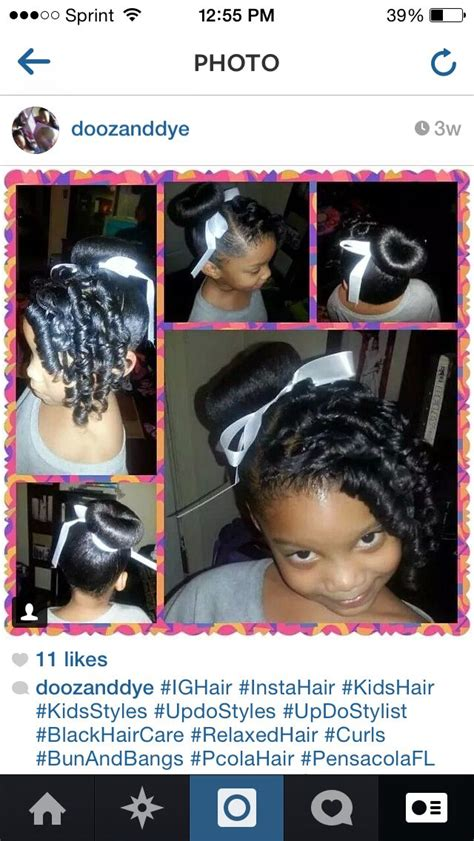 party hairstyles for relaxed hair black hairstyles for kids curls bun bun and bang