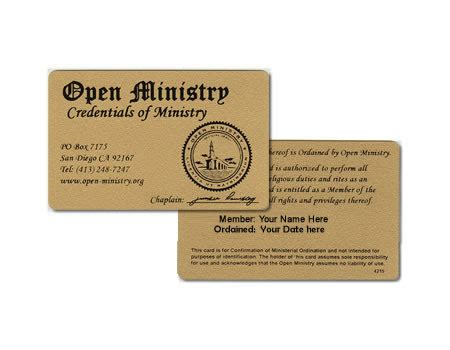 Template For Ordianation Wallet Cards credentials minister wallet card minister ordainment