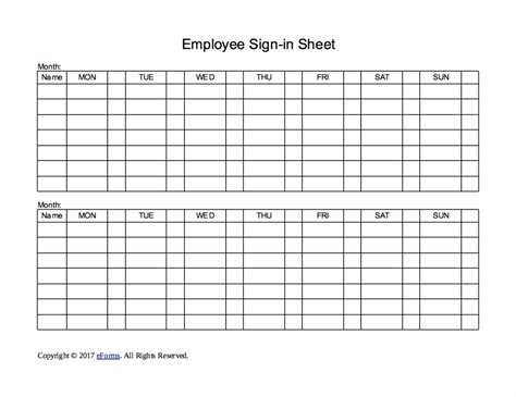 Two Week Employee Sign In Sheet Template Eforms Free Fillable Forms Employee Sign In Sheet Template