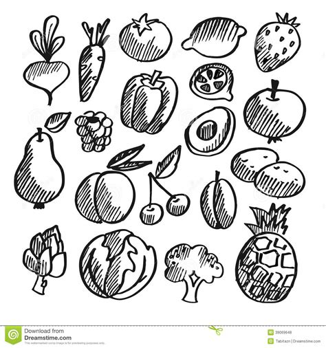 vegetable doodle vector free black isolated vegetables fruits doodle icons stock