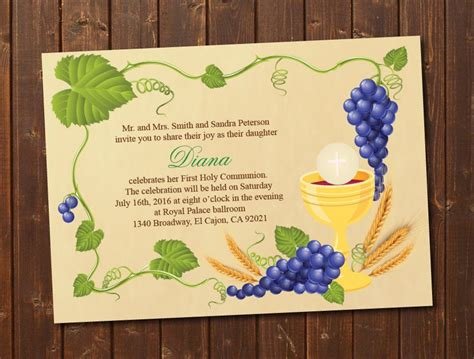 Holy Card Templates by Printable Holy Communion Invitation E Card