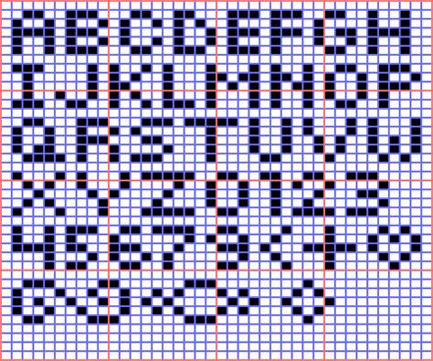 mini alphabet for square stitch or loom beadwork