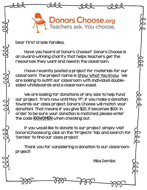 Thank You Letter For Donors Choose Donors Choose Goodies And Fearless In
