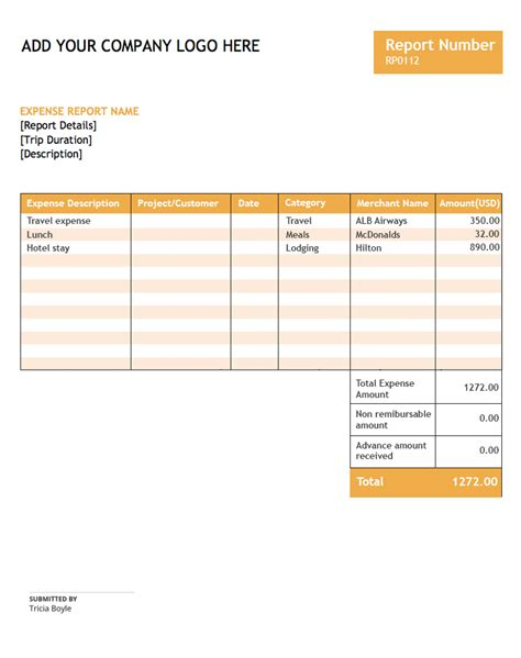 expense report template zoho expense