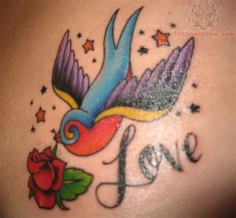 love birds tattoo flower and bird