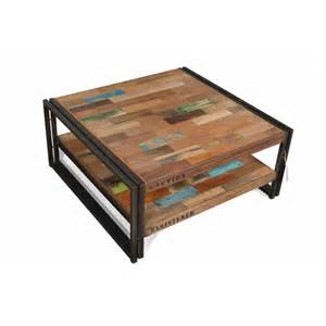 table basse carr 233 e style industrielle en m 233 tal et bois
