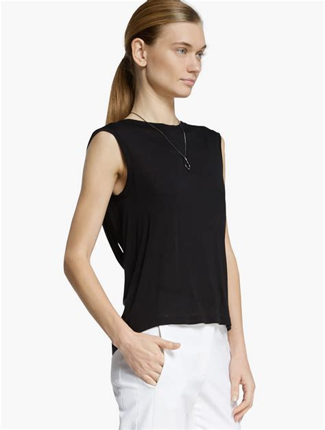 back drape halston back drape knit top in black lyst