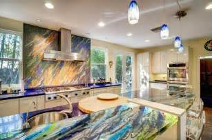 Affordable Kitchen Countertop Ideas French Door Design With Fabulous Colorful Onyx Countertop