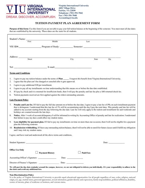 sample tuition payment agreement   draft  tuition