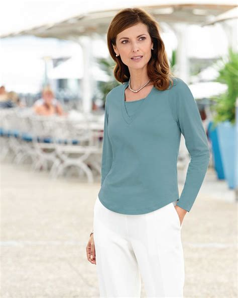 7 Ways To Work The Layered Look by Artigiano Womens Layered Look Jersey Top Blouse V