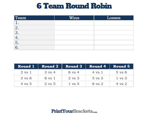 6 team draw template 6 team robin printable tournament bracket